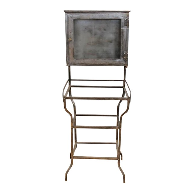 Early 20th C. Antique American Medical Metal Cabinet For Sale