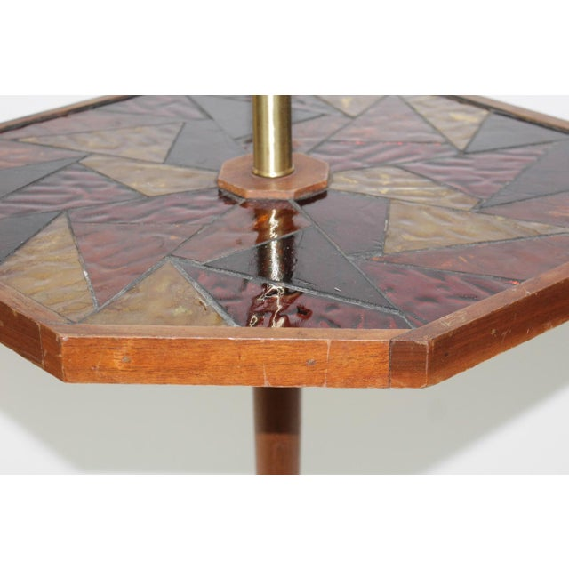 Mid-Century Georges Briard Mosaic Floor Lamp Table - Image 7 of 10