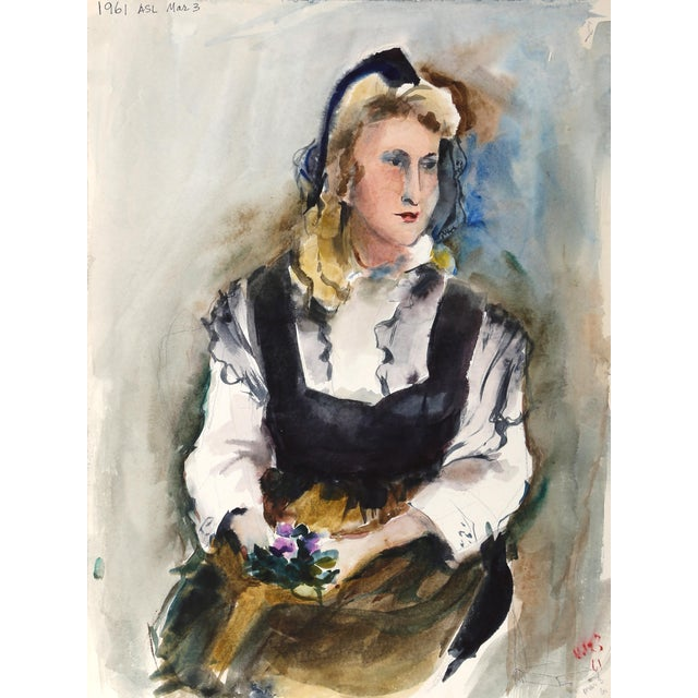 Eve Nethercott, Seated Woman (P6.32), Watercolor on Paper For Sale
