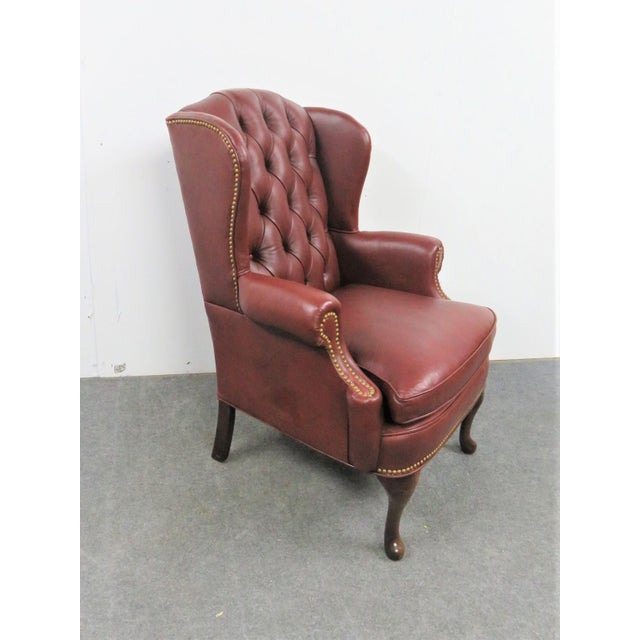 Hickory LeatherTufted Queen Anne Style Wing Chair For Sale In Philadelphia - Image 6 of 7