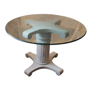 Traditional Round Glass Top Dining Table For Sale