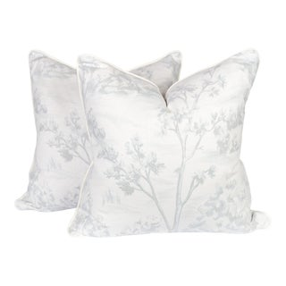 Pale Blue and Ivory Linen Fauna Tree Pillows, a Pair For Sale