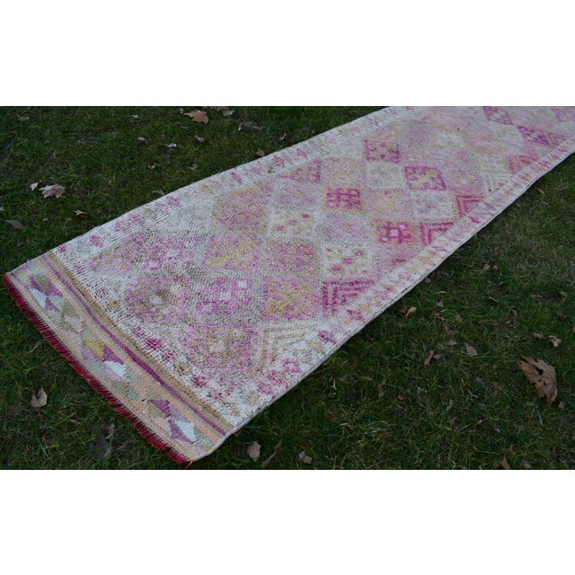 Modern Distressed Turkish Oushak Runner Rug 2.6 X 13.5 Ft For Sale - Image 3 of 13