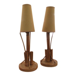 Vintage Rattan Tiki Lamps with Shade - a Pair For Sale