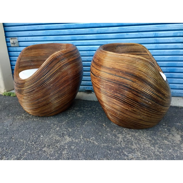 Contemporary Pencil Wood Reed Pod Chairs - a Pair For Sale - Image 3 of 6