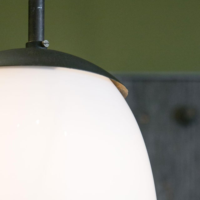Antique Milk Glass and Iron Pendant For Sale - Image 4 of 7