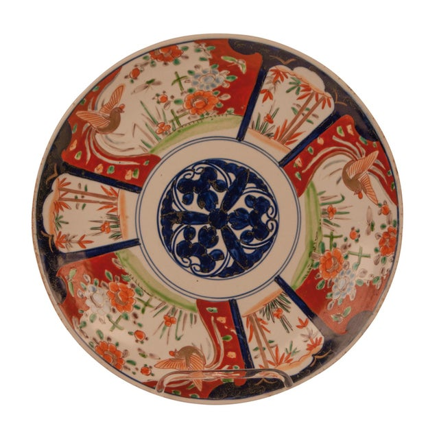 Imari Porcelain 1890s Japanese Imari Porcelain 3 Flowers Charger Plate For Sale - Image 4 of 6