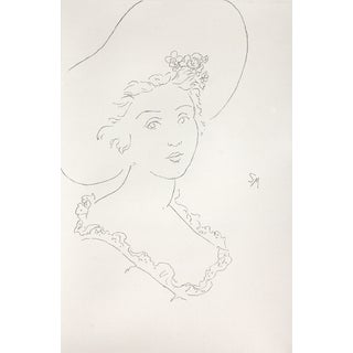 """Sarah Myers """"Lady With a Fashionable Hat"""" Charcoal Drawing For Sale"""
