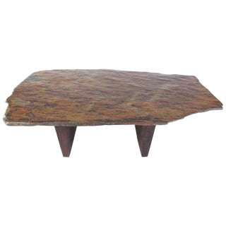 Live Edge Slate Top Coffee Table For Sale