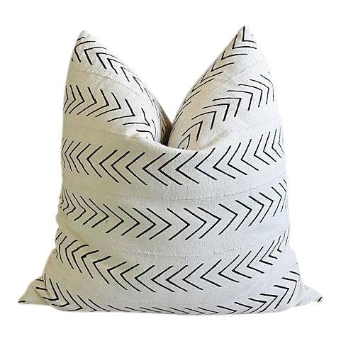 "Bohemian Chic Jumbo 32"" Black & White Tribal Pillow/ Floor Cushion For Sale"
