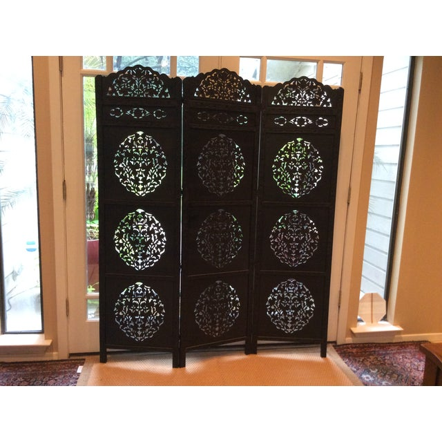 This Boho Chic intricately carved wooden screen makes a great decorative room divider or perfect for a queen size...