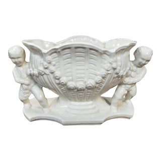 Mid 20th Century Japanese Porcelain French Style Putto Adorned Jardiniere For Sale
