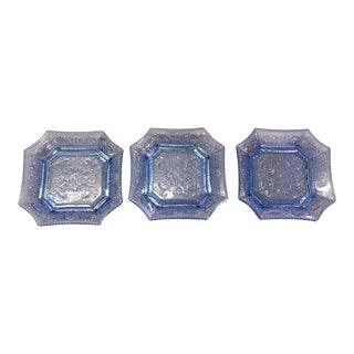1970s Traditional Blue French Portiex Art Glass Plates - Set of 3 For Sale