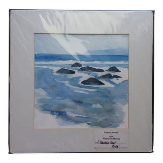"""""""Gentle Seas"""" Contemporary Abstract Seascape Watercolor Painting by Wanda McManus For Sale"""