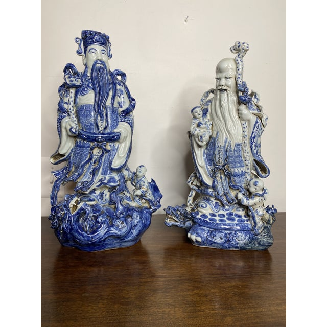 Vintage Chinese Blue & White Figures - Set of 2 For Sale - Image 13 of 13