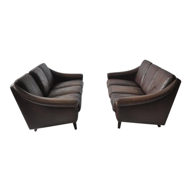 Pair of Aage Christiansen 1960s Danish Leather Sofas For Sale