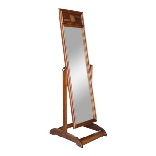 Walnut Cheval Floor Mirror For Sale