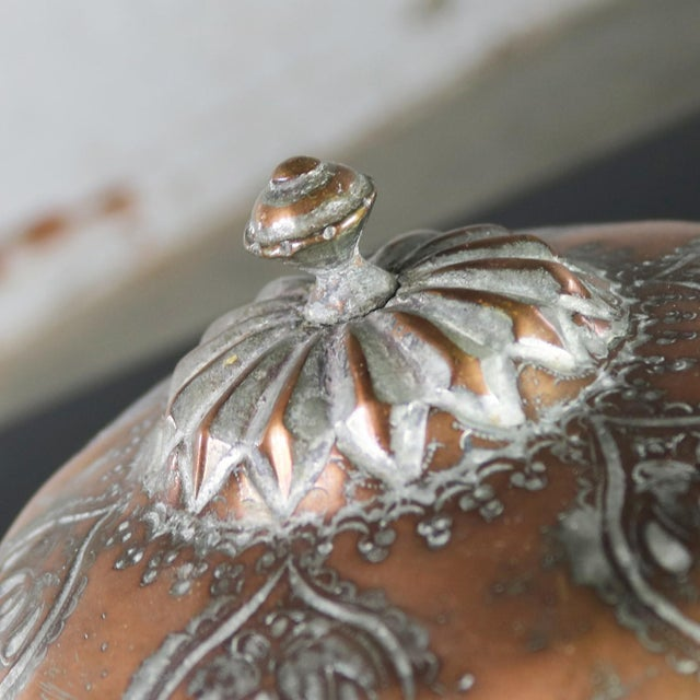 Antique Turkish Ottoman Copper Lidded Bowl Hand Forged Hand Chiseled and Tinned For Sale - Image 6 of 13