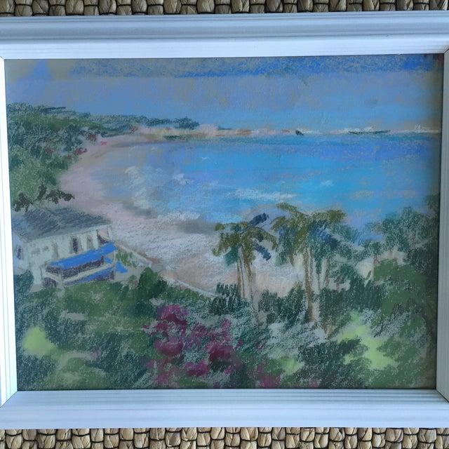 Original Oil Pastel Caribbean Coastline Seascape Framed Art - Image 7 of 10