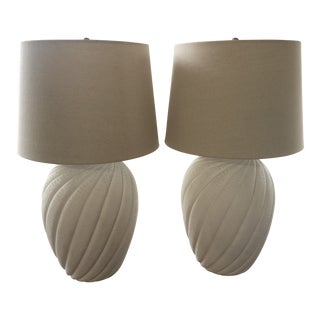 1980s Plaster Lamps in the Style of John Dickinson - a Pair For Sale