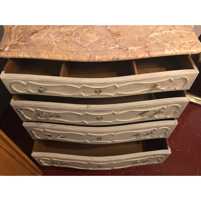 White Swedish Marble-Top Four-Drawer Chest or Commode or Nightstand Louis XV Style For Sale - Image 8 of 13