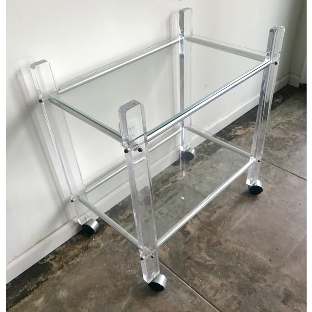 Brass 1980s Hollywood Regency Lucite Bar Cart For Sale - Image 7 of 8
