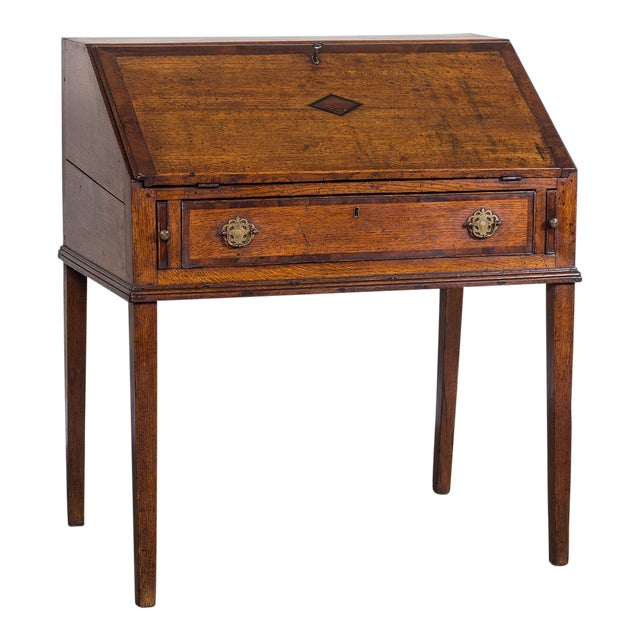 Antique English George III Period Oak Slant Front Desk circa 1760 - Image 1  of 10 - Exquisite Antique English George III Period Oak Slant Front Desk