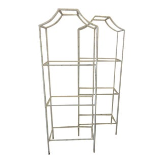 Faux Bamboo Pagoda Etageres - a Pair For Sale
