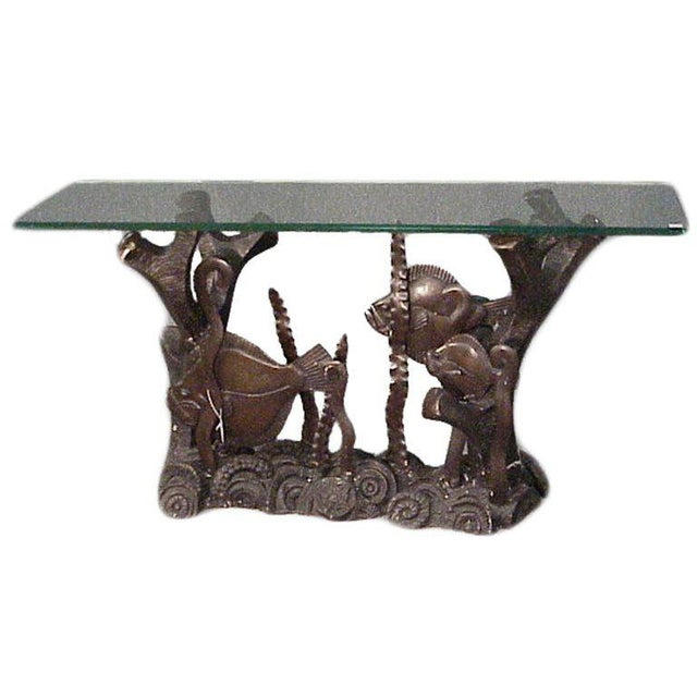 Black Aquatically Themed Bronze Console Table Base by Mimi London For Sale - Image 8 of 8