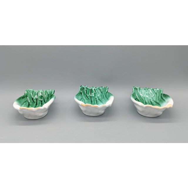 Late 20th Century Vintage Italian Majolica Green Onion Vegetable Dipping Bowls - Set of 3 For Sale - Image 5 of 10