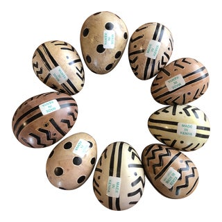 Hand Painted Carved Eggs Made in Kenya - Set of 9 For Sale