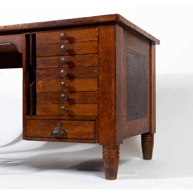 """This draftsman's desk has aged beautifully over solid quartersawn oak construction. Beautiful """"rivers"""" flow across the top..."""