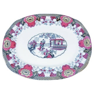 19th English Transferware Platter Canton For Sale