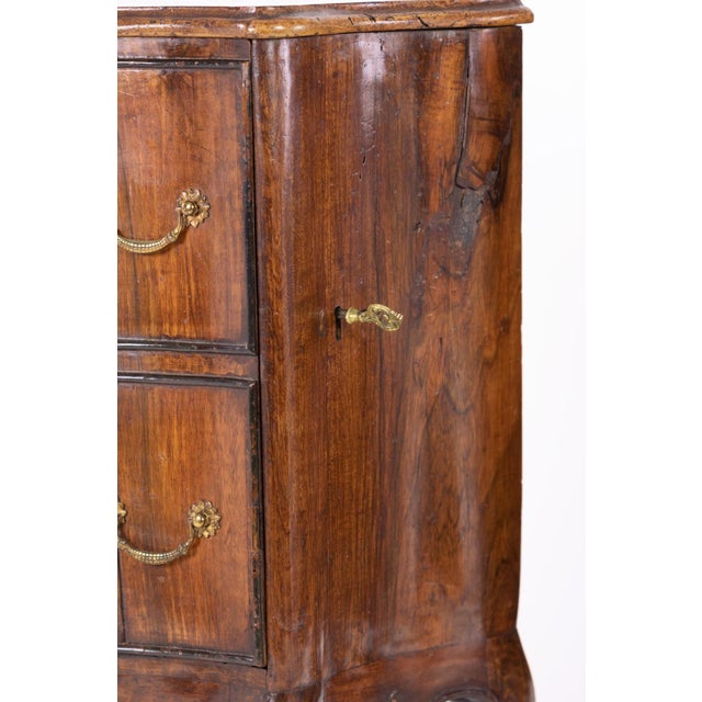 Wood 1890 Pair of Italian Walnut Bedside Tables With Carved and Ebonized Details, Each With Faux Drawer Front Single Doors For Sale - Image 7 of 13