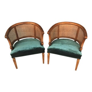 Vintage Mid-Century Cane Barrell Chairs With New Upholstery - a Pair For Sale