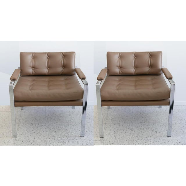 Metal Milo Baughman for Thayer Coggin Lounge Chairs - Pair For Sale - Image 7 of 7