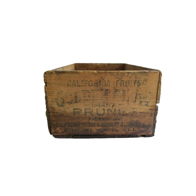 Antique Wooden Crate Labeled California Fruits Golden Glow Brand Prunes Packed By Prune