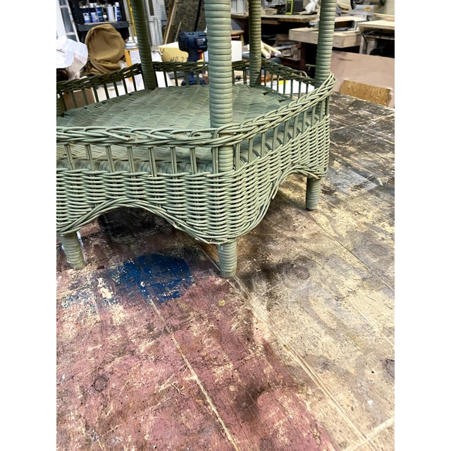 Vintage Light Green Painted Wicker Round Side Table For Sale - Image 9 of 13