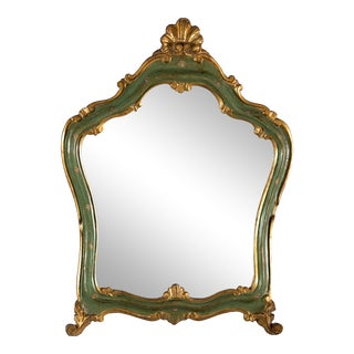 Small French Green and Gilded Crown Top Mirror For Sale