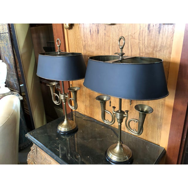 French 1950s Brass French Horn Bouillotte Table Lamps - a Pair For Sale - Image 3 of 13