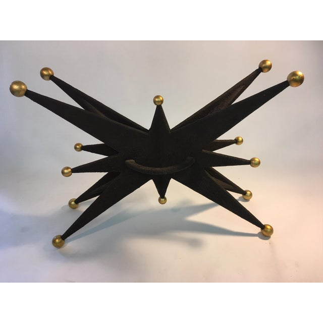 Brutalist SPECTACULAR ITALIAN BRUTALIST STARBURST AND GOLD BALL RESIN CONSOLE TABLE For Sale - Image 3 of 10