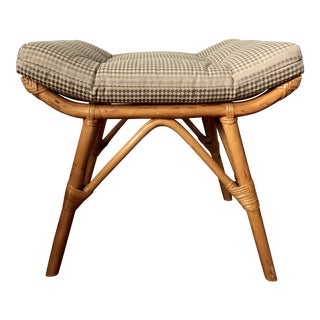Vintage Rattan & Bamboo Stool For Sale