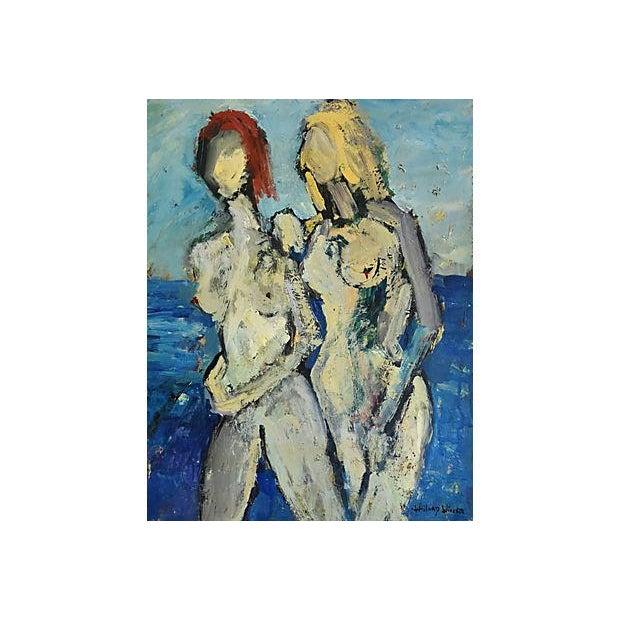 Midcentury Williard Wiener, Abstract Nudes Walking on Beach Oil Painting - Image 3 of 7