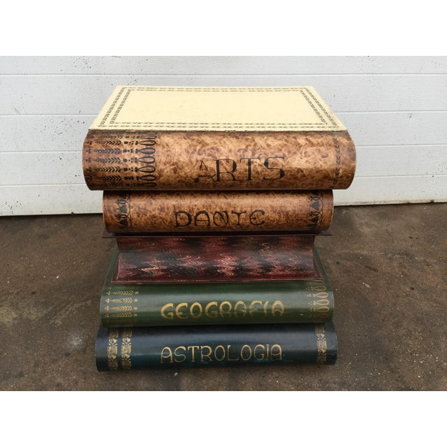 Italian Metal Tole Painted Book Stack Table For Sale - Image 5 of 9