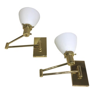 Nessen Brass Swing Arm Wall Lamps With Milk Glass Diffusers- a Pair For Sale