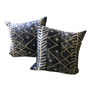 Boho Chic Ralph Lauren Indigo Batik Pillows - a Pair For Sale