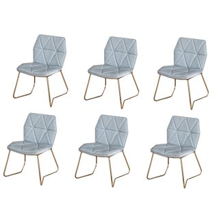 Set of 6 Mid Century Modern Upholstered Tally Dining Chairs With Gold Legs and Gray Linen Seat For Sale