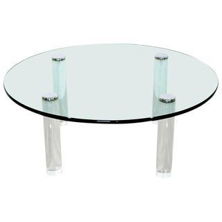 Mid Century Modern Pace Collection Glass Chrome Lucite Round Coffee Table For Sale