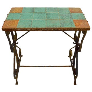 Wrought Iron Tile Top Table For Sale