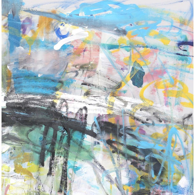 """Abstract """"Push Past the Fear"""" Original Abstract Artwork by Lesley Grainger For Sale - Image 3 of 9"""